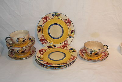 Vintage Japan Luncheon Set for 4 Plates Cup Saucers Raised Bird Decorations
