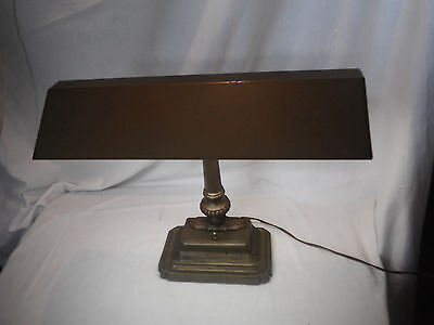 Vintage Banker's Lamp Brass Art Deco Style, Industrial Fluorescent Desk Lamp