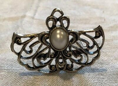Vintage Antique Gold Metal Scroll Angel Wings Faux Pearl Pin