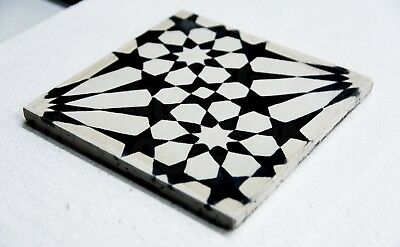 Black in White Handmade Cement 8 X 8-inch Moroccan Floor And Wall Tile