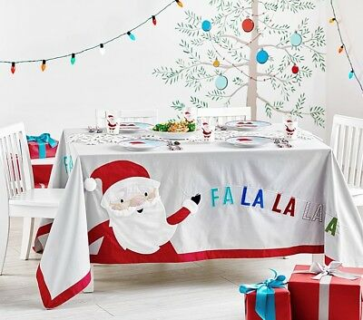 Pottery Barn Kids Merry & Bright Christmas Tablecloth 70x90 NEW Grey