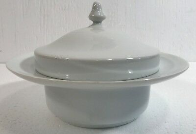 Spal Horchow White Butter Dish & Lid Portugal Porcelain Mid Century Space Age