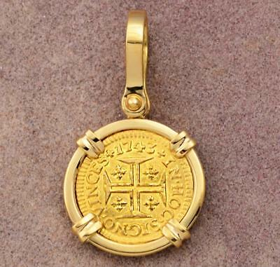 PORTUGAL 400 REIS GOLD COIN in 18kt SOLID GOLD PENDANT DATED 1743