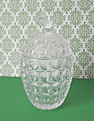 Vintage GLASS Candy Dish Crystal Covered Dome Dish Honeycomb Design Bird Clear