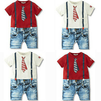 US Gentleman Baby Kid Boy Infant Romper Jumpsuit Bodysuit Cotton Clothes Outfits