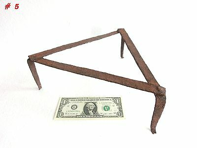 Antique 19th C. Blacksmith Made Wrought Iron Fireplace 3 Legged Spider/ Trivet 5