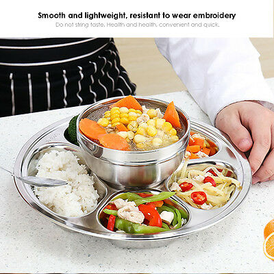 3/4/5 Divided Stainless Steel Kids Snack Tray Food Diet Portion Lunch Box Plate