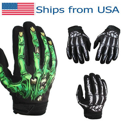 Men's Cycling Motorcycle Racing Skeleton Skull Bone Sports Warm Gloves M-XL