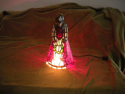 Tiffany Style Red White Angel Stained Glass Table lamp Night Light