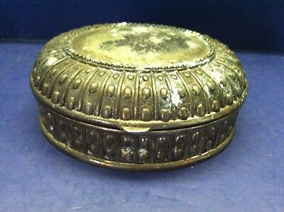 OLD VINTAGE Wonderful Small Silver Plate Embossed Oval Trinket/Jewelry Box