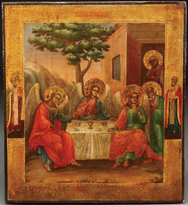 Original 19Th C  Russian Icon Of The Old Testament Trinity, Circa 1880
