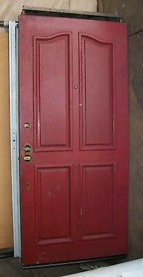 Pair of Vintage Solid Oak French Exterior Doors. Antique Ornate Nice Woodgrain.