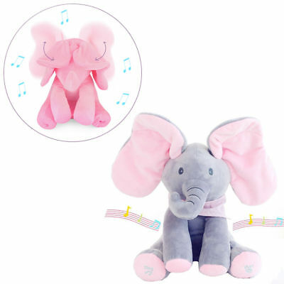 Flappy Peek Boo Elephant Plush Toy Baby Sings Animated Stuffed Kids Doll Animal