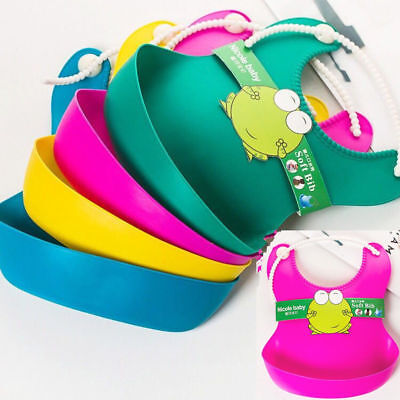 Waterproof Silicone Infants Baby Bibs Feeding Lunch Roll-up Apron