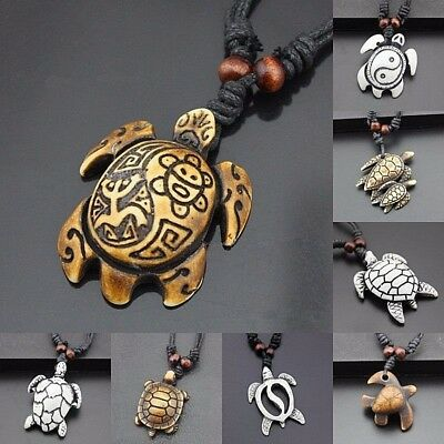 "Over 40 STYLES Resin 1"" to 2"" TURTLES TORTOISES Pendant 18-34"" Adj Cord Necklace"