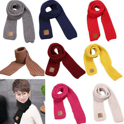 Woolen Yarn Knit Warm Baby Kid's Boy Girl Collar Scarf Shawl Scarves Sweet Color