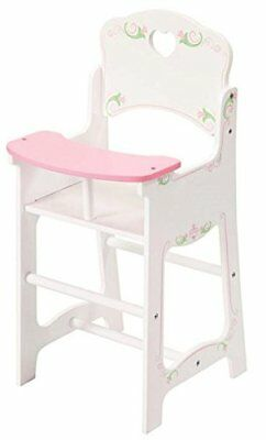 Dolls White Wooden High Chair Pretend Play Wooden Toy Doll Furniture