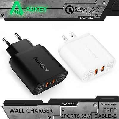 Aukey QC2.0 Dual USB Wall Charger 2 Port Phone Power Mini-Adapter +Free Cable x2