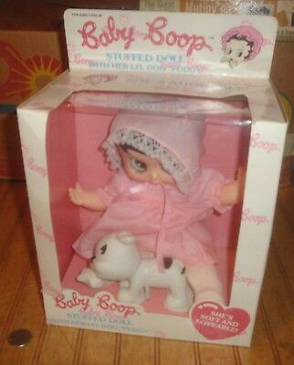"1990 Marty Toy Baby Betty Boop 10"" Doll with dog Pudgy in box"
