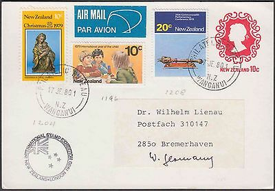 NEW ZEALAND QE 10c UPRATED AIRMAIL COVER TO GERMANY ATTRACTIVE