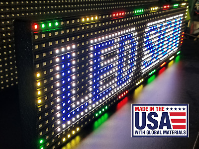 """Full Color 38""""x 6.5"""" P10 LED Sign Programmable Scrolling Message (MADE USA)"""