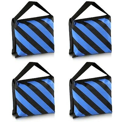 Set of 4 Black/Blue Heavy Duty Sand Bag Photography Studio Video Stage Saddlebag