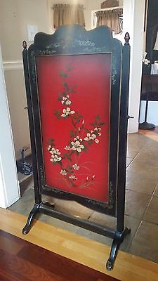 "Antique Fireplace Screen Rotating Hand Painted 45"" x 24"