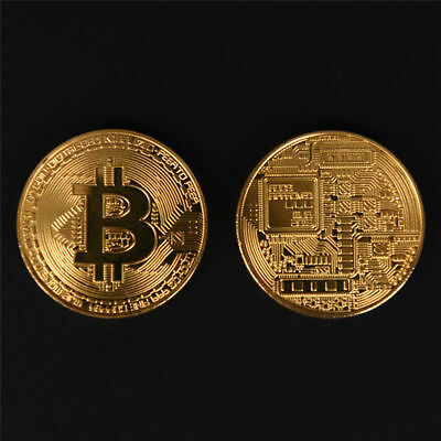 2x Gold Bitcoin Commemorative Round Collectors Coins Bit Coin Gold Plated