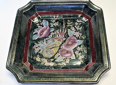 Chinese Famille Verte Octagon Shape Plate Dish Bowl Pheasant Flowers Green Pink