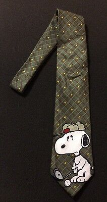 Peanuts 50th Anniversary Snoopy And Woodstock Playing Golf Novelty Tie