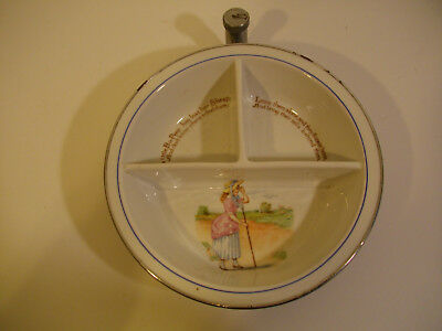 a85/ Vintage Antique Transferware Childs Baby Hot Water Warmer Divided Dish