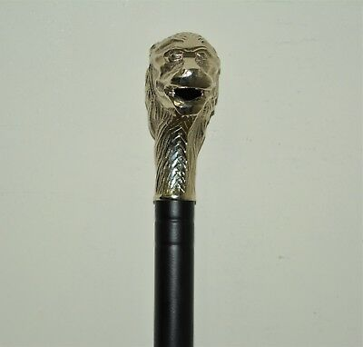 Antique Steel Walking Stick Brass Handle Vintage Stick Rj Au