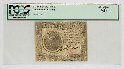 1778 Continental Currency $7 Pcgs Currency Certified 50 About New (104)