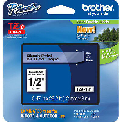 "Brother TZE131 1/2"" Black on Clear P-Touch Label Tape Cartridge TZ131"