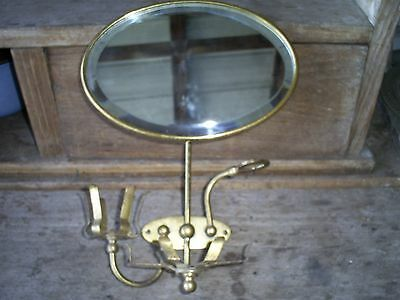 Antique Brass Shaving Beveled Mirror Brasscrafters 1908 Bathroom Fixture/Salvage
