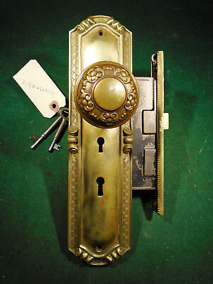 RUSSWIN TWO KEY ENTRY MORTISE LOCK w/KNOBS & PLATES & KEYS - WOW! (9509)