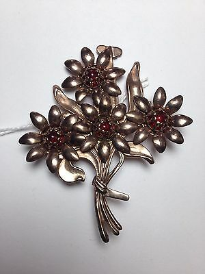 Vintage Brooch Copper Color Flowers Red Glass Centers Large & Bold EUC