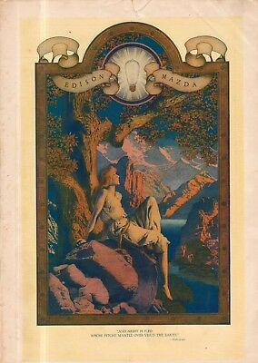 "1918 original Edison Mazda Maxfield Parrish ad ""Dawn."""