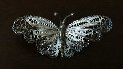 Beautiful Vintage 800 Silver Filigree Artisan Butterfly Pin