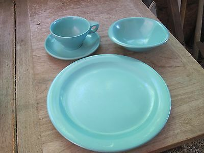 BOONTON New Jersey 4pc.TEAL BLUE Place Setting for Dinner: Plate,Bowl,Cup&Saucer