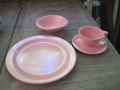BOONTON New Jersey 4pc. PINK Place Setting for Dinner: Plate,Bowl,Cup&Saucer