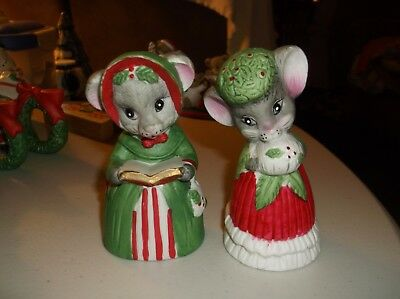 Lot of 2 Jasco  Porcelain Christmas Hand Bells,Mice/Book/Holly&Berries