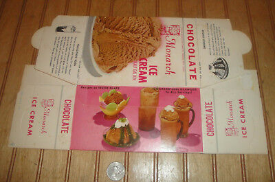 Vintage 1972 MONARCH Chocolate Ice Cream Advertising 1/2Gal Box Container