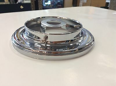 "Chrome Battern Fixture 3 1/4""  Shade Fitting Art Deco Light Flush Ceiling"