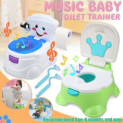 Kids Baby Toddler Toilet Children Pee Music Training Potty Seat Chair Trainer