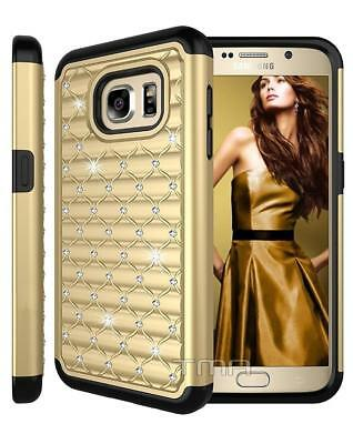 Fits Samsung Galaxy S7 Case Rhinestone Bling Glitter Shockproof Cover - Gold
