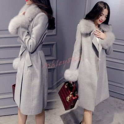 Fashion Women Lapel Coat Jacket Faux Fur Collar Wool Blend Slim Fit Outwear Hot