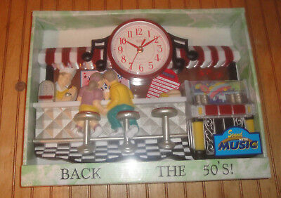 "17"" Diner Ice Cream Fountain Musical JukeBox 3-D Scene Wall Clock New/Sealed MIB"