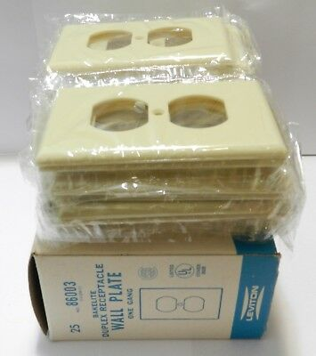 Bakelite Leviton Duplex Outlet Covers Lot of 20 New Old Stock 86003 Ivory Plate