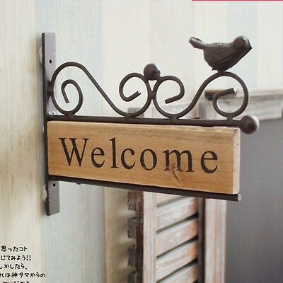 Vintage Wood Welcome Sign Cast Iron Metal Bird Shabby Chic Rustic Plaque Sign